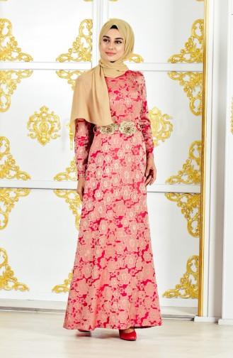 Blumen Gemustertes Kleid mit Jacquard 2348-01 Rosa 2348-01