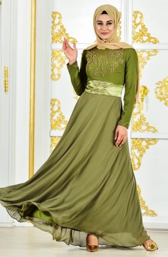 Pearl Evening Dress 1002-03 Khaki 1002-03
