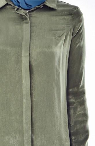 تونيك طويل بتصميم زر مخفي 50272-07 لون اخضر كاكي 50272-07