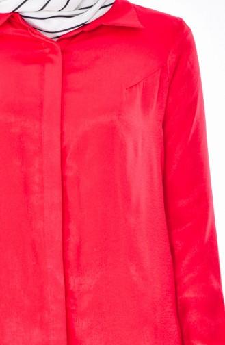 Gizli Düğmeli Uzun Tunik 50272-06 Kırmızı