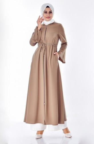 Hooded Zippered Abaya 2523-03 Dark Mink 2523-03