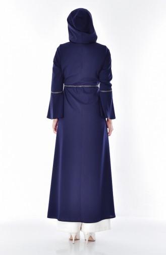 Hooded Zippered Abaya 2523-05 Nav 2523-05