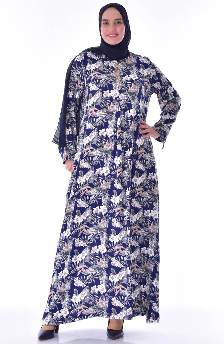 e15b5d8d16d39 Büyük Beden Taş Detaylı Elbise 1804-05 Lacivert Pudra