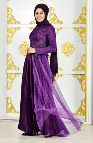 Beading Embroidered Evening Dress 3146-02 Purple 3146-02