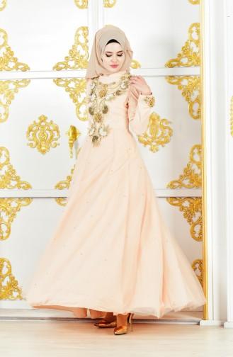 فستان مُزين بتفاصيل أحجار لامعة 11192-01 لون وردي 11192-01