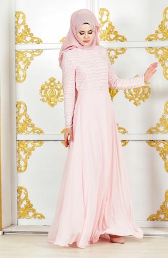 فستان سهرة يتميز بتفاصيل من الؤلؤ 3134-01 لون وردي 3134-01