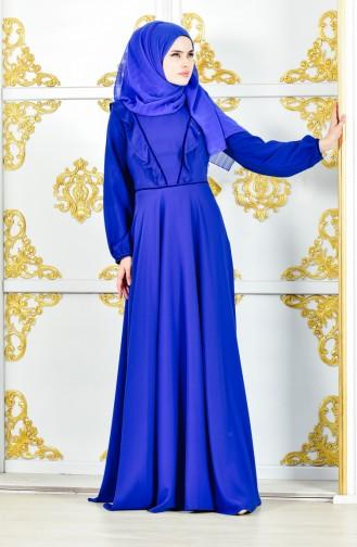 فستان شيفون بتفاصيل من الكشكش 28306-03 لون ازرق 28306-03