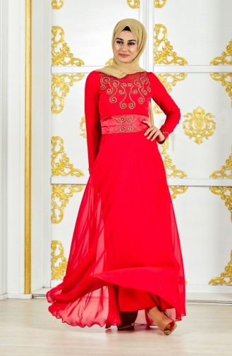 Pearl Evening Dress 1002-02 Red Yellow 1002-02