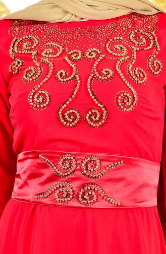 فستان سهرة يتميز تفاصيل من الؤلؤ 1002-02 لون احمر واصفر 1002-02