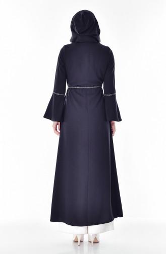 Abaya a Fermeture et Capuche 2523-04 Noir 2523-04