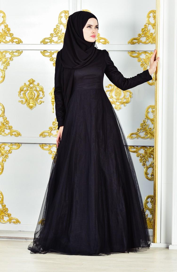 9a5837aa2ab51 فستان بتصميم مُميز 11190-01 لون أسود 11190-01
