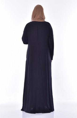 Übrgröße Kleid mit Strassstein 1721-03 Schwarz 1721-03