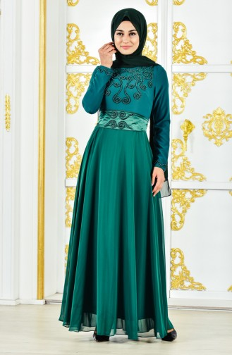 Pearl Evening Dress 1002-01 Emerald Green 1002-01