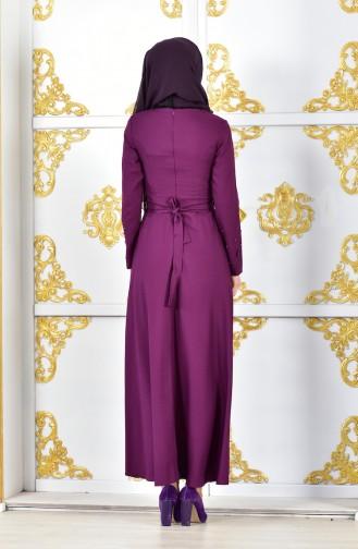 Strassstein Bedrucktes Abendkleid mit Blumen 1002-03 Hell Lila 1002-03