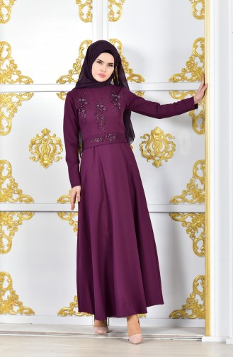 Pearls Belted Evening Dress 1018-03 Light Purple 1018-03