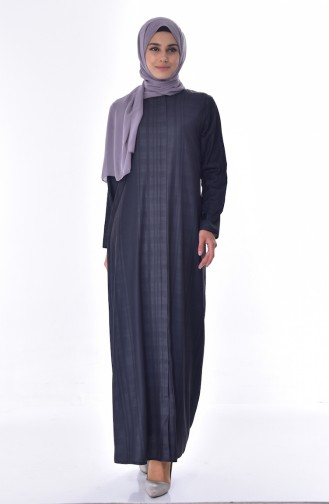 Hidden Zippered Abaya 49509-01 Anthracite 49509-01