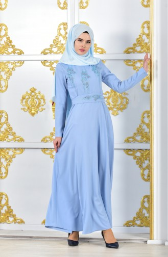 Pearls Belted Evening Dress 1018-04 Baby Blue 1018-04
