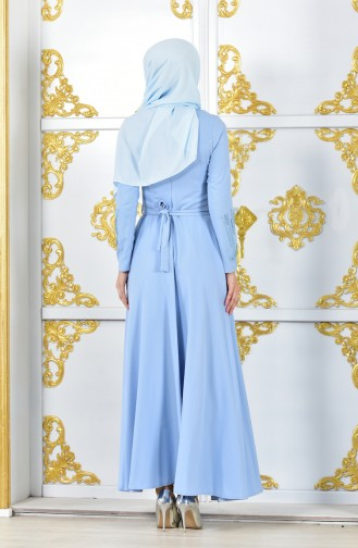 Stone Printed Belted Evening Dress 1020-05 Baby Blue 1020-05
