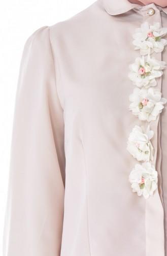 Bluse mit Blumen 104121-01 Beige 104121-01