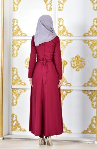 Flower Appliqued Stone Printed Evening Dress 1002-01 Bordeaux 1002-01