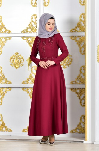 Pearls Belted Evening Dress 1018-06 Bordeaux 1018-06