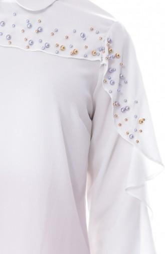 Bluse mit Perlen 7003-01 Naturfarbe 7003-01