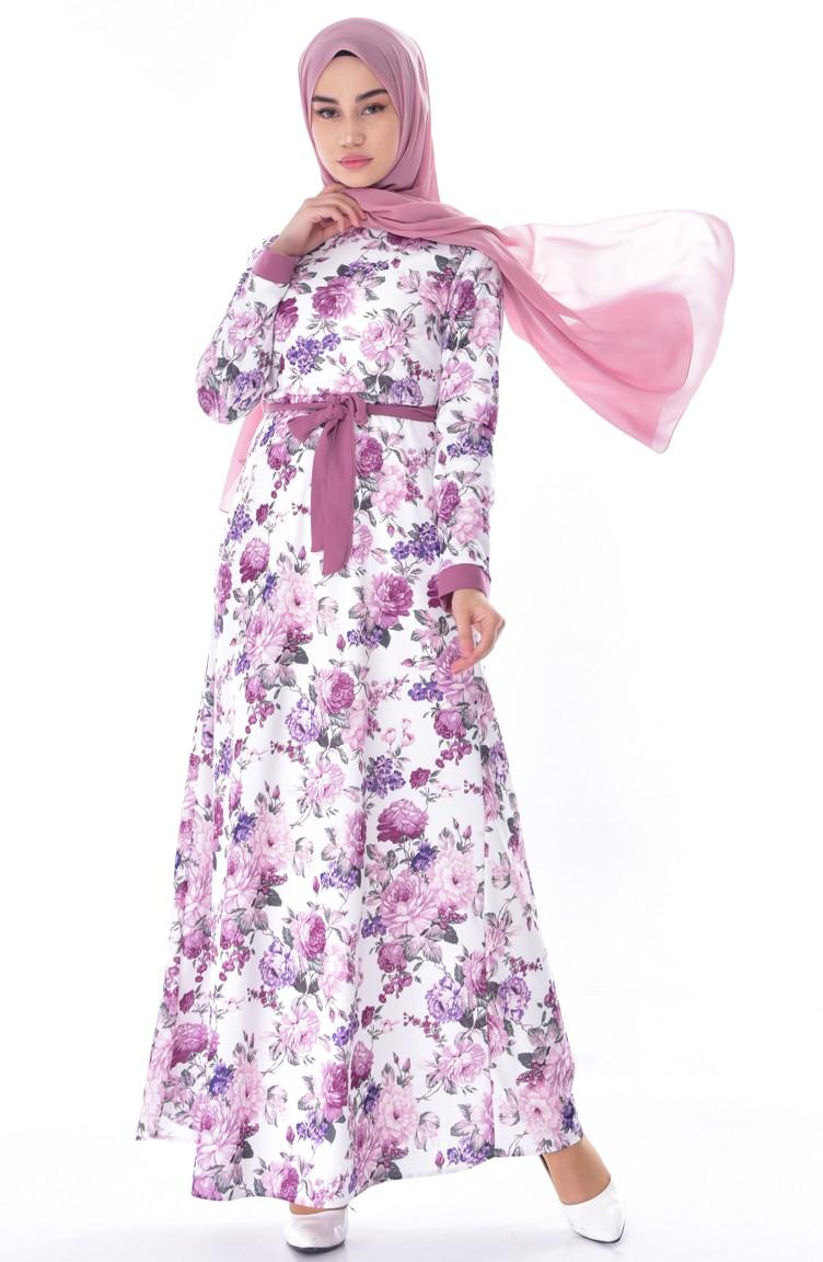 f28a0ea922 Robe Fleuries a Ceinture 5703-01 Rose Pâle Ecru 5703-01
