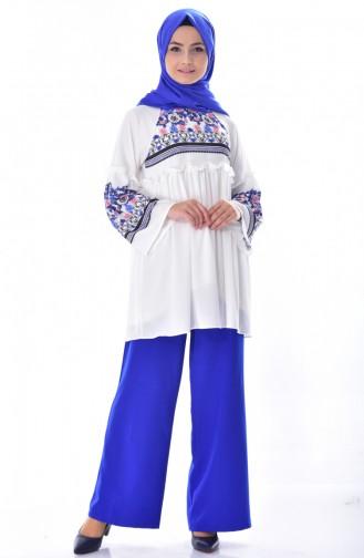 تونيك مُطبع بتصميم طيات 20738-03 لون أزرق وبيج فاتح 20738-03
