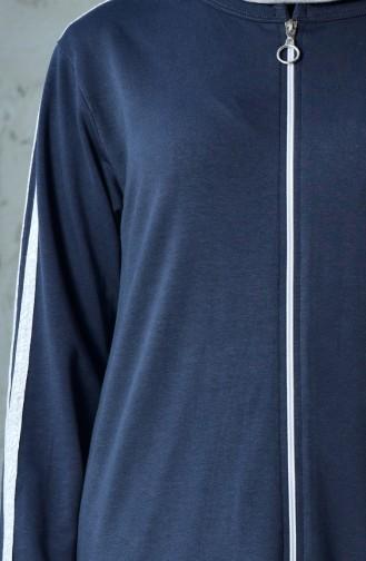 بدلة رياضية بتصميم سحاب 60100-10 لون اسود مائل للرمادي 60100-10
