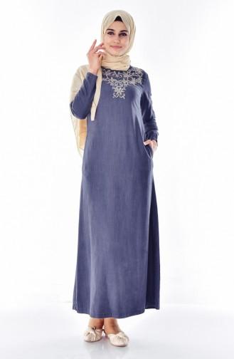 Jeans Kleid mit Stickerei 9235A-02 Rauchgrau 9235A-02