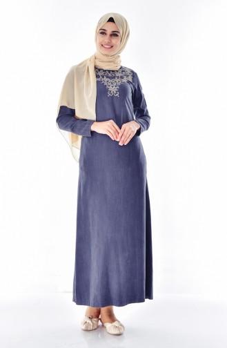 Nakışlı Kot Elbise 9235A-02 Füme 9235A-02