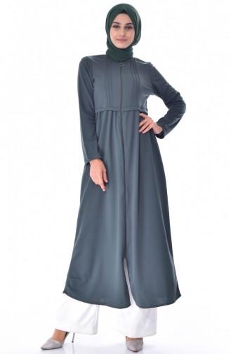Geraftes Abaya mit Reißverschluss 1901-01 Khaki Grün 1901-01