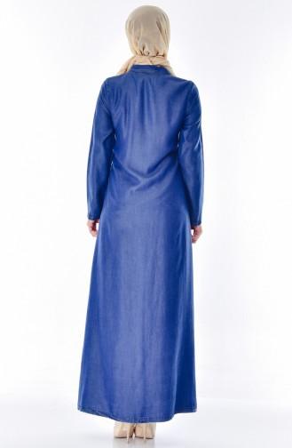 Abaya Jean Perlées a Fermeture 9236A-01 Bleu Jean 9236A-01