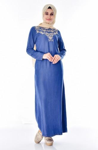 Jeans Kleid mit Stickerei 9235A-01 Jeans Blau 9235A-01