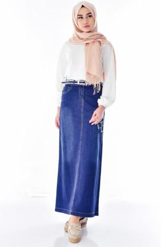 Belted Jeans Skirt 3573-01 Navy Blue 3573-01