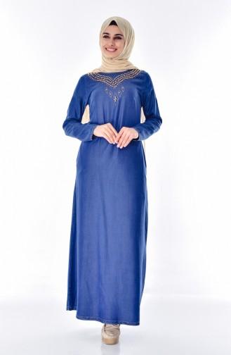 Jeans Kleid mit Perlen 9235-02 Dunkelblau 9235-02