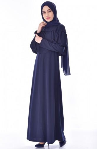 Büzgülü Elbise 3315-02 Lacivert 3315-02