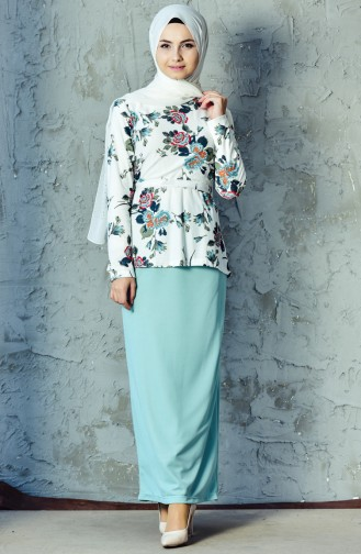 Bluz Etek İkili Takım 3905A-09 Mint Yeşil