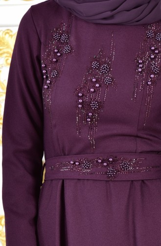 Pearls Belted Evening Dress 1018-08 Purple 1018-08