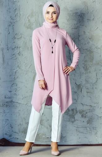 Kolyeli Tunik Pantolon İkili Takım 6130-01 Pudra 6130-01