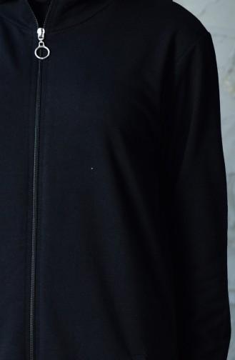 بدلة رياضية بتصميم سحاب 20110C-01 لون اسود 20110C-01