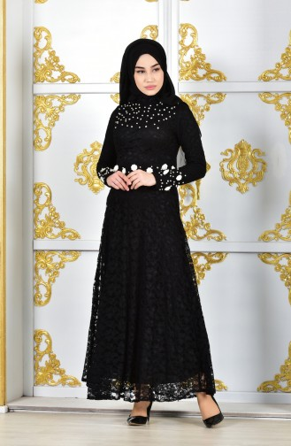 Lace Coated Pearl Evening Dress 1009-04 Black 1009-04