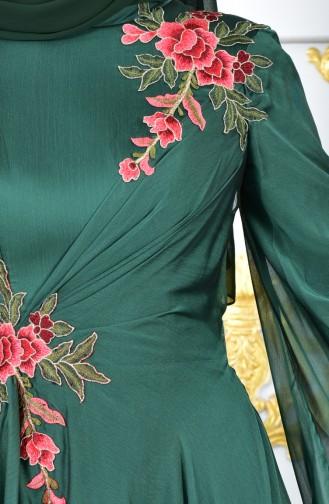 Embroidered Evening Dress 3061-03 Emerald Green 3061-03
