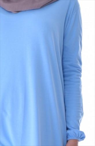 Patchwork Tunika aus Natürlichen Stoff 6401-01 Baby Blau 6401-01