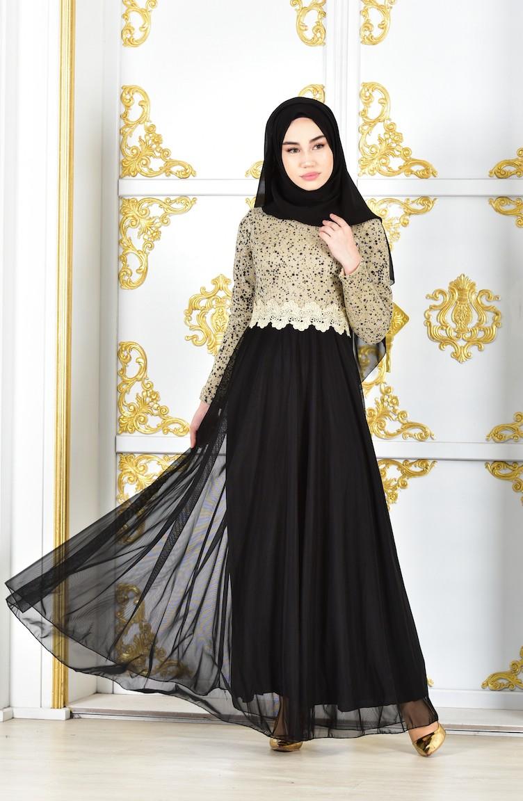9e12e6b864878 فستان سهرة يتميز بتفاصيل من الدانتيل 1012-01 لون اسود وذهبي 1012-01