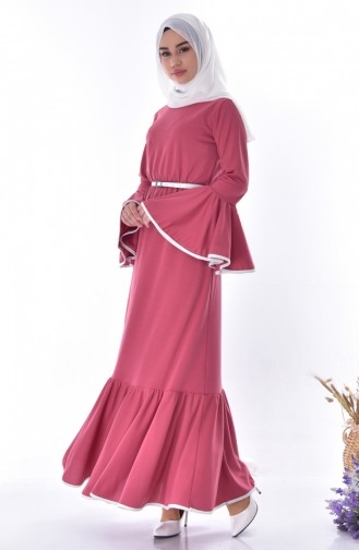 İspanyol Kol Kemerli Elbise 0102-02 Gül Kurusu