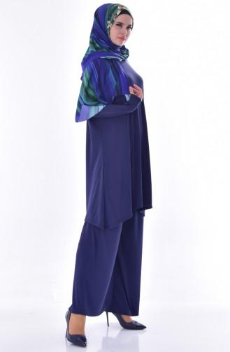 Tunik Pantolon İkili Takım 7605-01 Lacivert