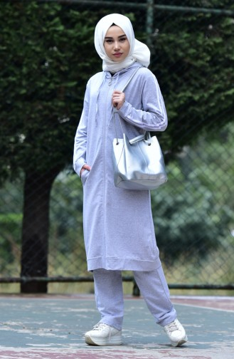 Zippered Tracksuit Suit 30110B-03 Gray 30110B-03