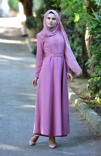 فستان سهرة بتصميم حزام للخصر مُزين باحجار لامعة 1018-02 لون وردي باهت 1018-02