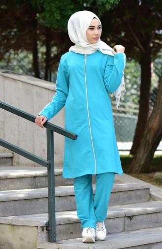Zippered Tracksuit Suit 18090-12 Dark Green 18090-12